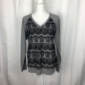 Democracy Velvet Lace Print V-Neck Top Size L